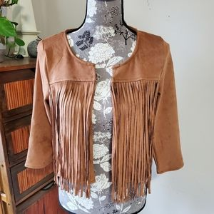 NWOT faux suede fringed crop jacket Sz. S